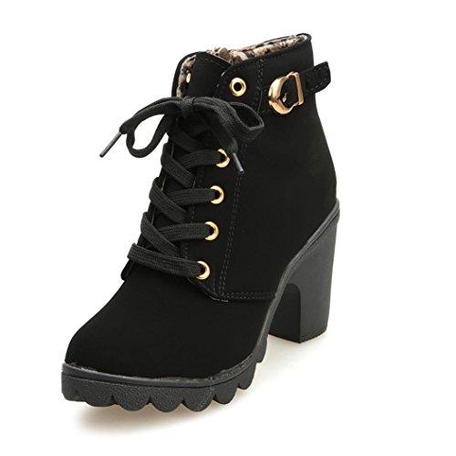 Fulltime® Femmes haut talon lacets cheville bottes boucle plateforme Shoes