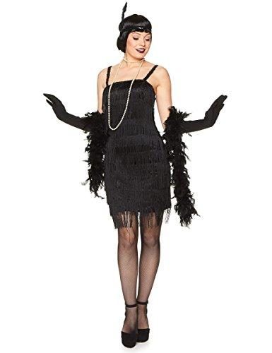 Costume charleston nero con frange per donna Taille M