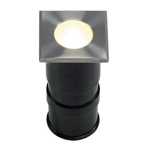 SLV Trail-Lite Alimentation 228342 sol et mur Lampe encastrable carré, en acier inoxydable 316, LED 1 W, 3000 K, IP67, en acier, argent,,,,