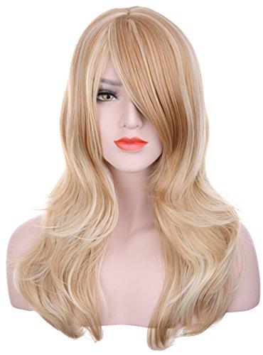 hxhome Damen Lang Gewellt 2Tones blond mix Haut Top lockig Perücke Haar