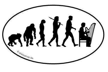 Harfenspieler Harfe Evolution Aufkleber Autoaufkleber Sticker Vinylaufkleber Decal