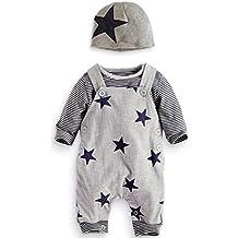 Covermason Recién Nacido Bebé Conjuntos Rayas Camisetas Pantalones de babero Sombrero (3 piezas)