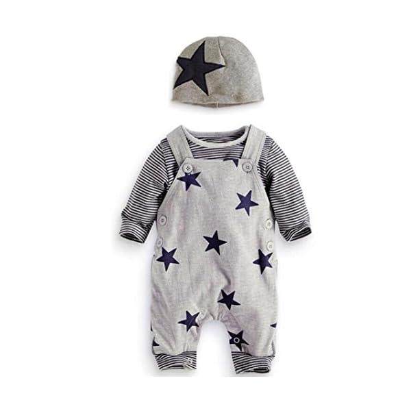Covermason Recién Nacido Bebé Conjuntos Rayas Camisetas Pantalones de babero Sombrero (3PCS) (6M, Gris) 1