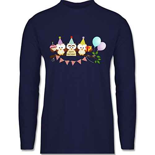 Shirtracer Geburtstag - Party Eulen Happy Birthday - Herren Langarmshirt Navy Blau