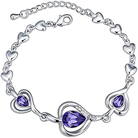 RM4062 - Braccialetto da Donna cuore con viola Swarovski elements cristallo austriaco