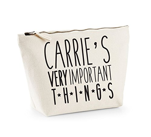 Very Important Things - Personalised Name - Custom - Fun Slogan, Make Up and Cosmetics Bag, Accessory Organiser Natural/Black