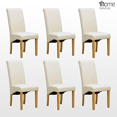 6 x 1home Leather Ivory Dining Chair w Oak Finish Wood Legs Roll Top High Back