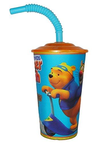 Unbekannt Trinkbecher mit Strohhalm - Winnie The Pooh - Kinder Kunststoff Kunststoffbecher - Becher Deckel & mit Insekten Schutz - Sommer Bienen / Trinkhalmbecher Stroh.. (Kinder-kunststoff-becher Mit Stroh)