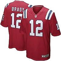 HFJLL NFL Football Jersey Patriots Brady 12# Camiseta,Red,L