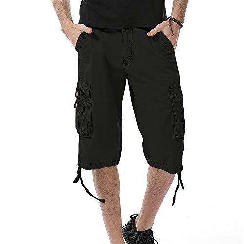 Aiserkly Herren Cargo Shorts Kurze Pure Color Arbeitshose mit Taschen Outdoorhose Freizeithose -