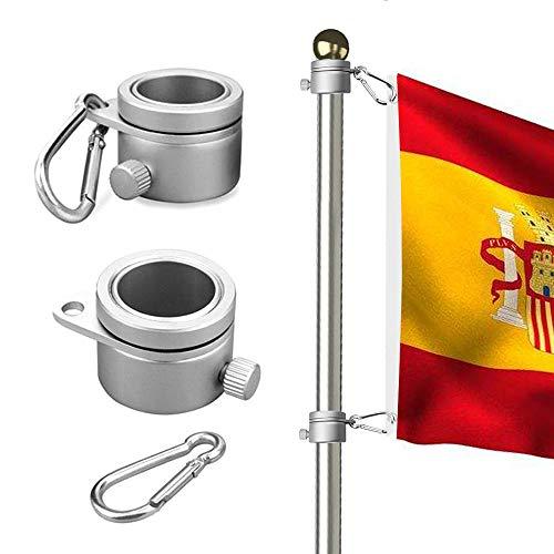 Wrightus 2 Stück Aluminium Fahnenmast Befestigungsringe 360 Grad drehbar Flaggenmast Montageringe Spinning Flag Pole Kit mit Karabiner für 1,75-3,8 cm Durchmesser