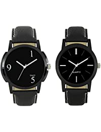 Luxurit Classy Combo Of Two Watches With Black Dial And Leather Strap For Men- Premium Quality-2 Months Warranty...