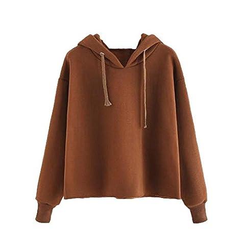 Reaso Femme Sweat à capuche Hooded Sweatshirt Mode Pullover Elegant Manteau Chic Coat Tunique Tops à Manches Longues Loose Casual Blouse Gielt (S, Marron)