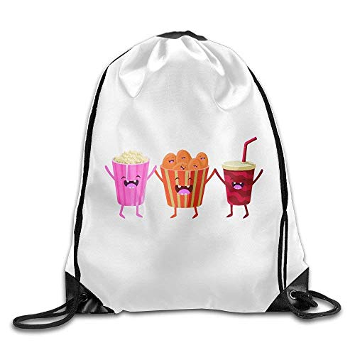 Popcorn Soda and Chips Cartoon Friends Colorful Funny Gym Drawstring Backpack Unisex Portable Sack Bags -