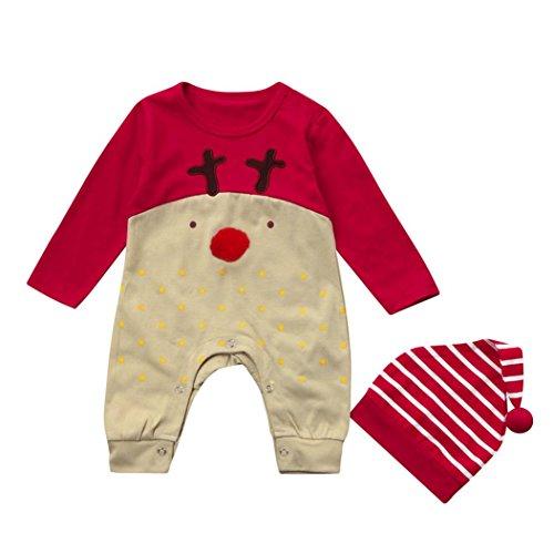 Ropa de Navidad Niñas Amlaiworld Bebé niños recién nacidos niñas ropa de Navidad mameluco + sombrero conjunto trajes 3 Mes - 2 Años (Rojo, Tamaño:6-12Mes)