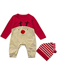 Ropa de Navidad Niñas Amlaiworld Bebé niños recién nacidos niñas ropa de Navidad mameluco + sombrero conjunto trajes 3 Mes - 2 Años