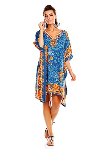 Print Beach Dress (Looking Glam ew Ladies Plus Size Kimono Tribal Ethnic Print Tunic Kaftan Evening Party Dress)