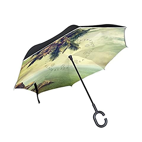 BENNIGIRY Beach Palm Tree Leaves Tropical Landscape Print Windproof Reverse Folding Double Layer Inverted Umbrella with C-shaped Hands Free Handle for Travelling and Car