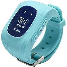 Reloj para Niños Q50, 9Tong Reloj Infantil Pulsera Inteligente Localizador Pantalla OLED con Smartphones (GPS, LBS, SOS Llamadas, Tarjeta SIM, para Android e IOS) (Azul)