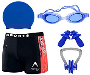 THE MORNING PLAY Boy Swimming Kit with 1 Swimming Shorts | Costume | Trunk Swimming 1 Anti Fog Swimming Goggles 1 Silicone Swimming Cap 1 Nose Clip 2 Ear Plugs (Light Blue)