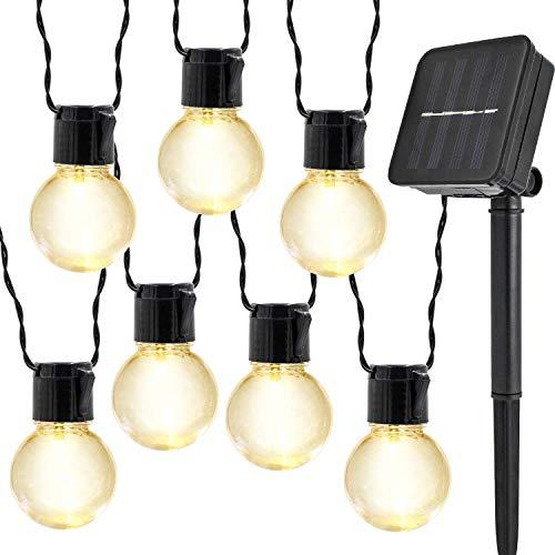 Solar Birnen Lichterketten,KINGCOO Wasserdicht 10 LED Klar Globe Kugel Glühbirne Lichterketten für Innen und Außen,Garten,Weihnachtsdekoration Beleuchtung (Warmweiß)