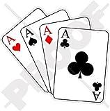 """Cuatro ases Casino juego de cartas, poker ace 4,4""""(110mm) vinilo pegatina, Skin"""