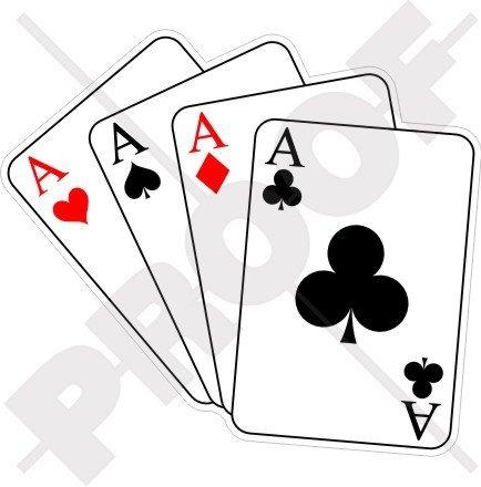 Quatre As Casino Cartes à jouer, poker Ace 110 mm en vinyle Bumper Sticker, autocollant
