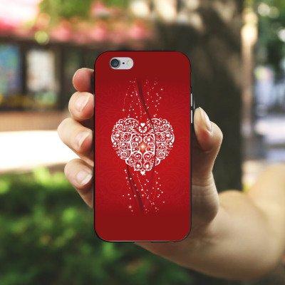 Apple iPhone X Silikon Hülle Case Schutzhülle Liebe Herz Valentinstag Silikon Case schwarz / weiß