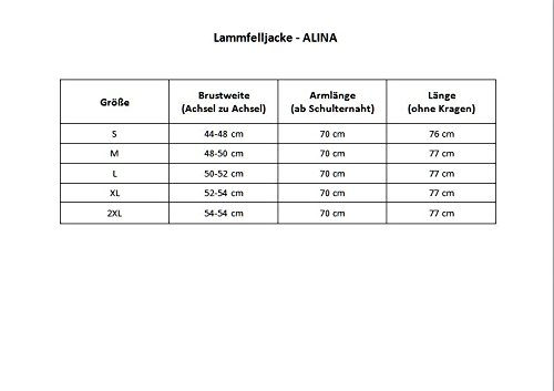 Lammfelljacke - ALINA Damen Merino Felljacke Echtleder Winterjacke braun Size XXL - 2