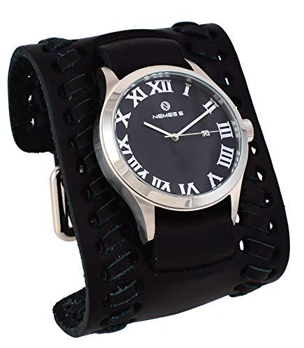 Nemesis WLBK259K Men's Pointium Wide Braided Bund Leather Band Black Roman Dial Watch