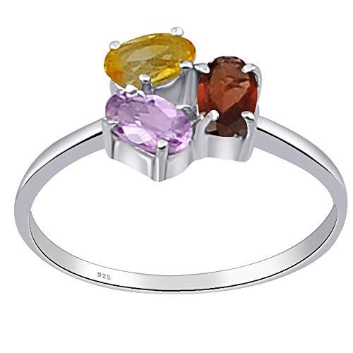 Orchid Jewelry - Anillo de plata de ley para mujer, 0,71 ctw, granate, amatista y citrino