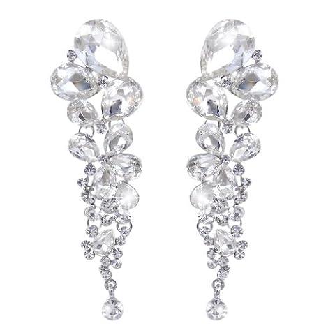 EVER FAITH® Austrian Crystal Gorgeous Tear Drops Wedding Dangle Pierced Earrings Clear Silver-Tone