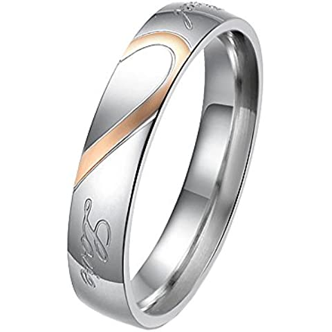 UM Jewellery Love Couples Ring Stainless Steel Him and Her Matching Heart Puzzle Comfort Fit