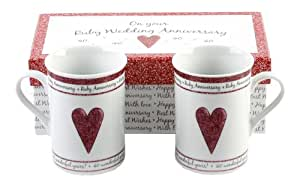 Pair Of Gift Boxed Ruby Anniversary Mugs - 40th Anniversary