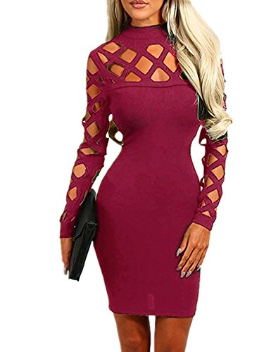 Stretch Denim Tank Dress (Minetom Damen Halsband Hoch Hals Langarm Lace Up Hollow Out Slim Fit Bodycon Kleider Club Party Cocktail Kleid Rot DE 42)