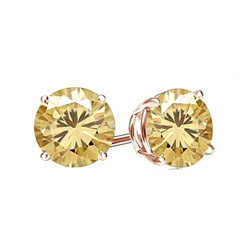 Lilu gioielli Moissanite, taglio brillante rotondo solitario orecchini a perno in argento Sterling 925placcato platino (Taglio Rotondo Moissanite Solitaire)