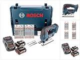 Bosch GST 18 V-Li B Professional Akku Stichsäge in L-Boxx + 2 x GBA 5,0 Ah Akku + Lader + 20 x Stichsägeblätter Holz/MetallDT