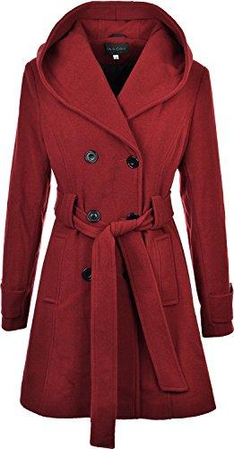 Damen Zweireiher langen Mantel mit Kapuze Wolle Touch Fit Damen Winter Mantel mit Innenfutter Gr. 40, Rot - Rot