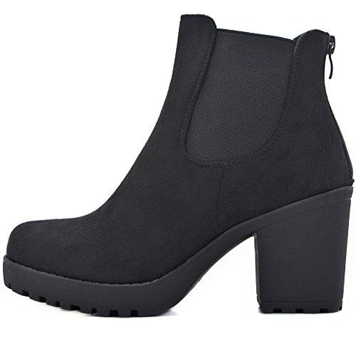 FLY 4 Chelsea Boots Plateau Stiefeletten in vielen Farben und Mustern (40, Schwarz Samt ()