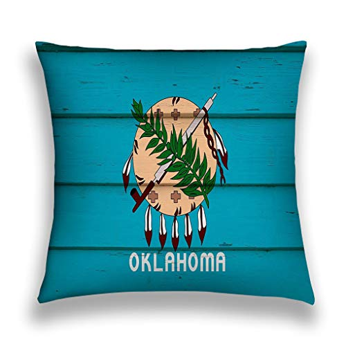Xunulyn Kissenbezüge Cushion Case Throw Pillow Case Decor Cushion Covers Square with Hidden Zipper Closure 18x18 inches, Twin Sided Print Oklahoma Wood Oklahoma State Flag Wood hi Res imag -