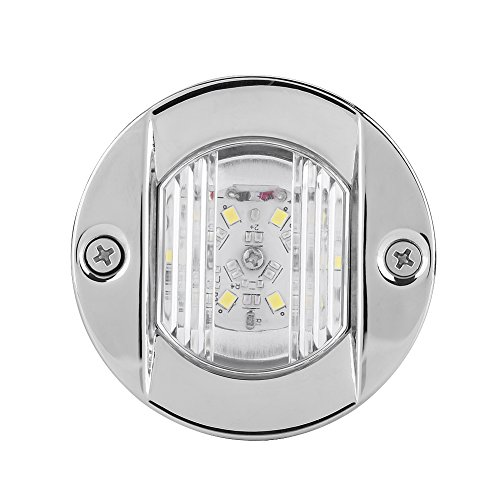 Qiilu 12V Marine Boat Transom Blanc LED Acier Inoxydable Imperméable à l'eau Stern Navigation Light Indicateur de Signal