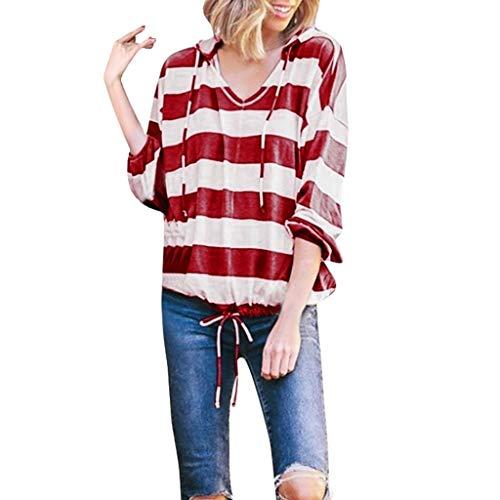 LOLIANNI Frauen Casual Gestreifte Bluse Damen Langarm Dünne Hoodie Pullover Tops Shirts (Rockstar Drink Hoodies Energy)