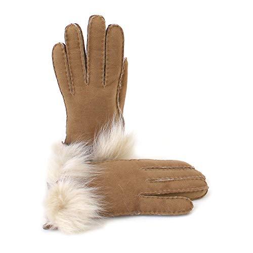 UGG W Long Pile Bow Glove chestnut, Braun (Chestnut), L -