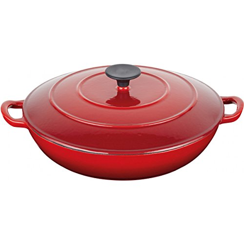 KitchenCraft MasterClass Shallow Cast Iron Casserole Dish with Lid, 3.5 Litres - Red
