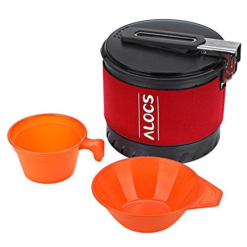 ALOCS Schnellkochtopf im Freien kampierendes Kochgeschirr Wärmetauscher-Kessel Faltbarer Griff-Topf mit Schüssel mit Tragetasche 1.3L / 2.0L (S10 1.3L) (Schnellkochtopf Camping)
