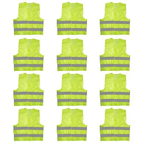 Chaleco Alta Visibilidad (Pack de 12) - Chaleco Seguridad Grande Amarillo Resistente...