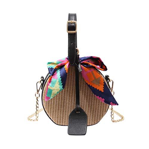 Binggong Rattan Stroh Tasche Runde Handtaschen Frauen Sommer Handgewebte Rattan Tasche Strandtasche mit Leder Snap Cross-Body-Tasche für Frauen Böhmischen Tasche Bali (Schwarz) -