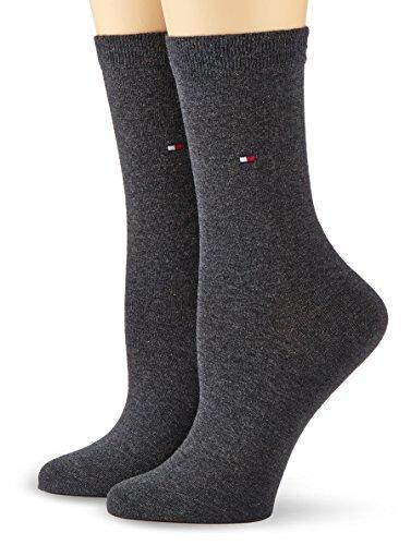 TOMMY HILFIGER Damen TH WOMEN CASUAL 2P Socken, Blickdicht, Grau (Anthracite Melange 030), 39-42 (2er Pack)