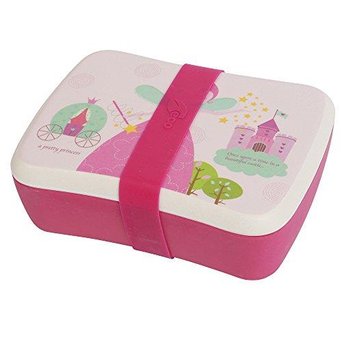 Öko-Lunchbox für Kinder mit separatem Saucenbehälter und Silikonband, aus Bambusfaser, spülmaschinenfest und frei von Bisphenol A Fairy Castle