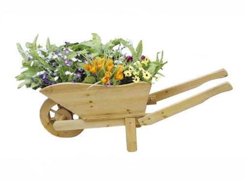 floristikvergleich.de Deko Pflanzen-Schubkarre – Romantischer Pflanzkübel für Blumen – Aus Holz